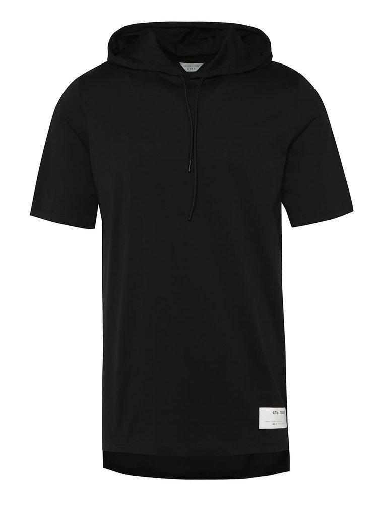 Černé dlouhé triko s kapucí Jack & Jones Conjoin