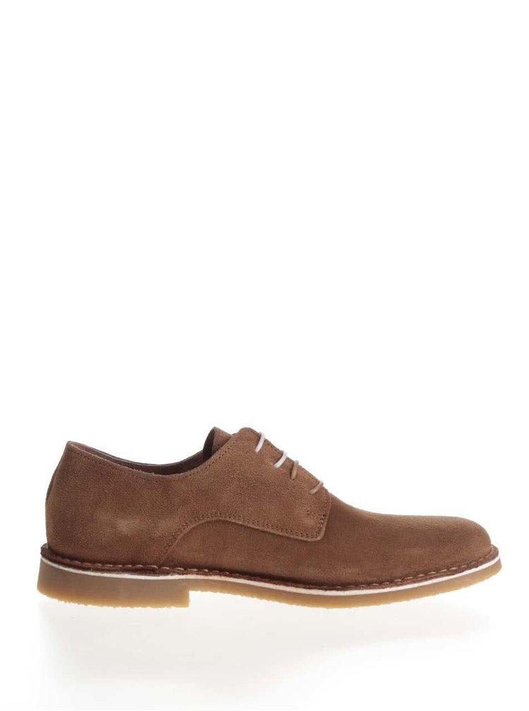 Pantofi maro Selected Homme Royce din piele întoarsă