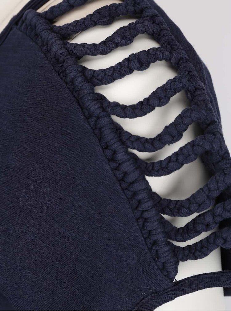 Tricou bleumarin VERO MODA Braida cu detalii impletite