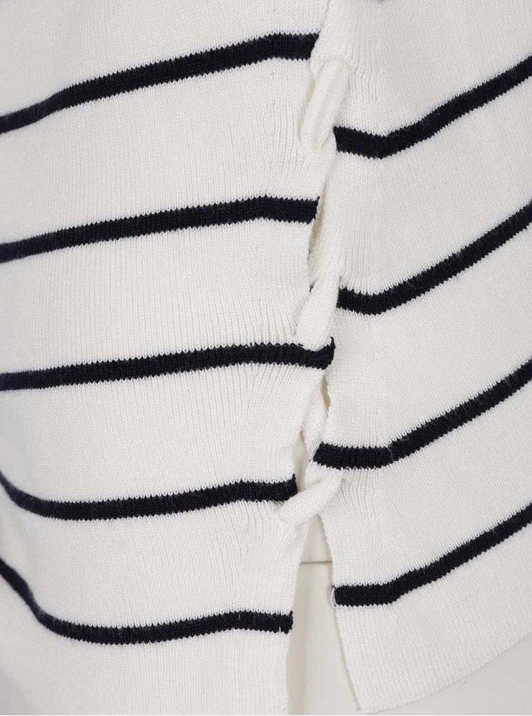 Krémový pruhovaný svetr s véčkovým výstřihem Miss Selfridge