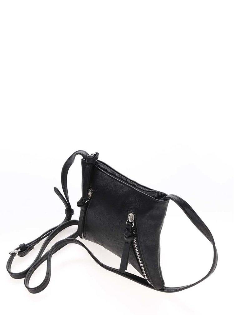 Černá crossbody kabelka se zipy Pieces Sofia