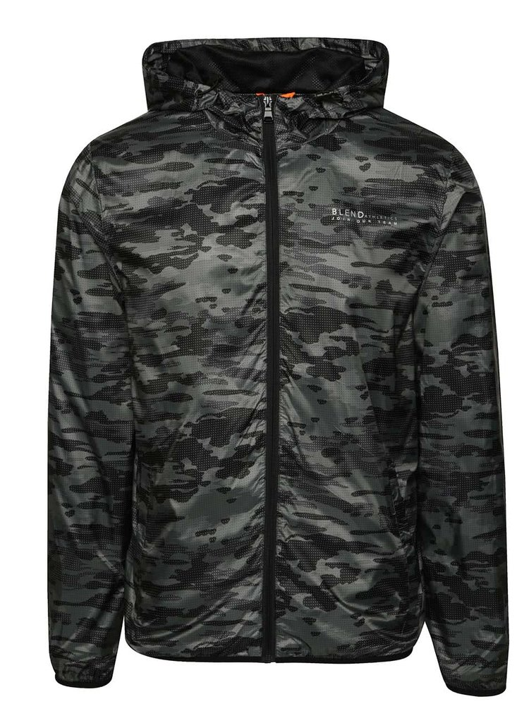 Šedo-černá lehká maskáčová bunda Blend