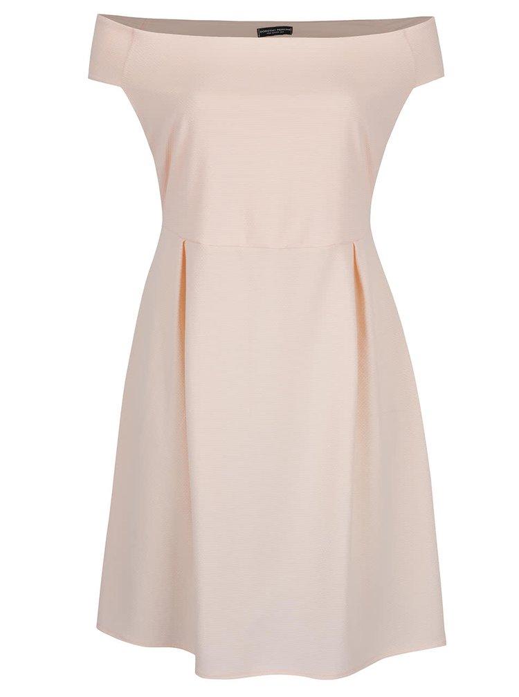 Světle růžové šaty s odhalenými rameny Dorothy Perkins Curve