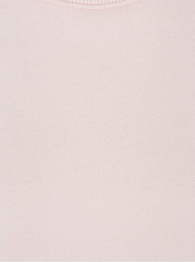 Světle růžová crop mikina se šněrováním na zádech Miss Selfridge