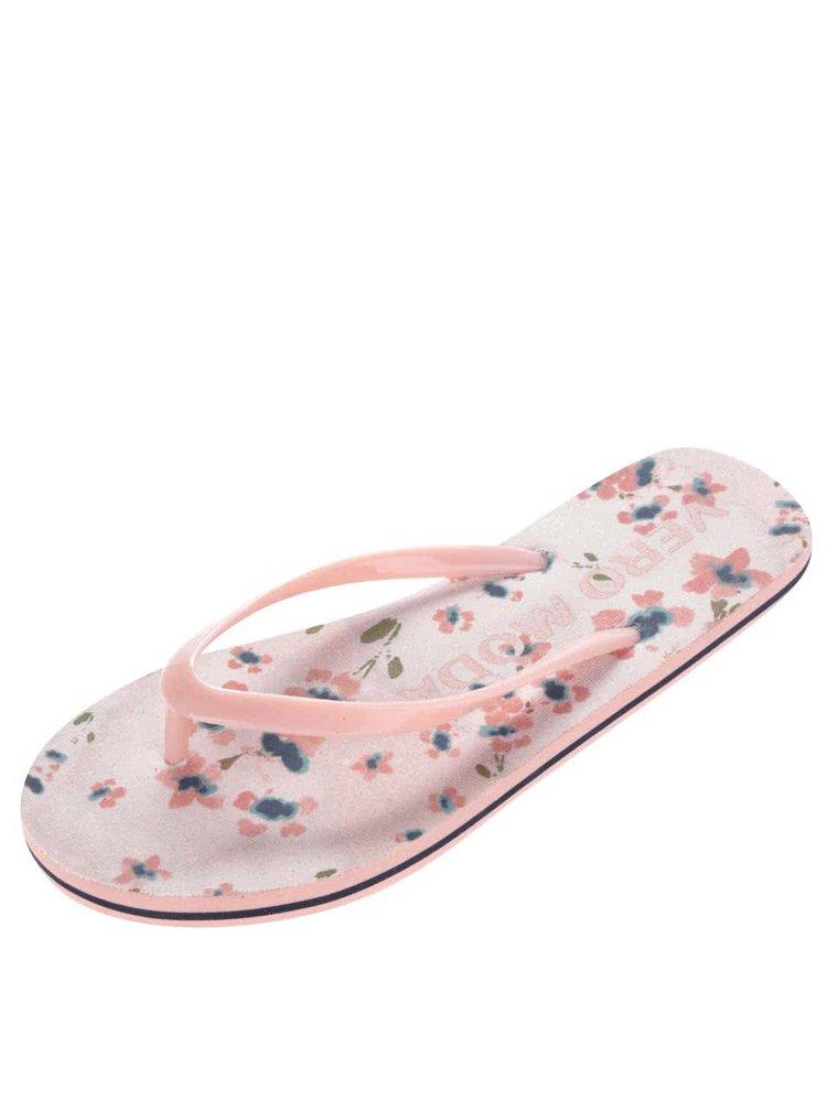 Růžové květované žabky VERO MODA Liv