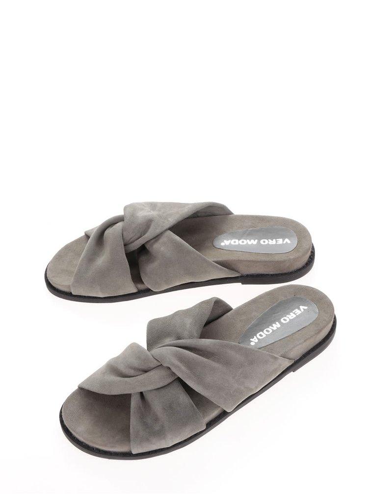 Světle šedé semišové pantofle VERO MODA Celia