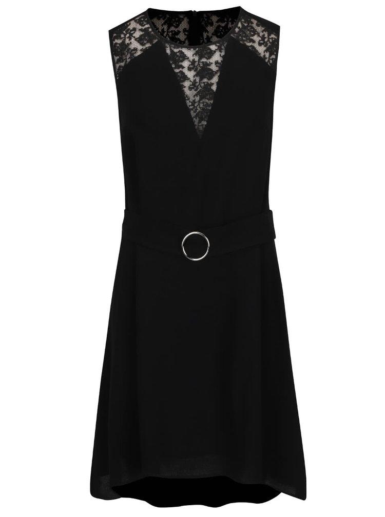 Černé šaty s krajkovými detaily French Connection Hennessy