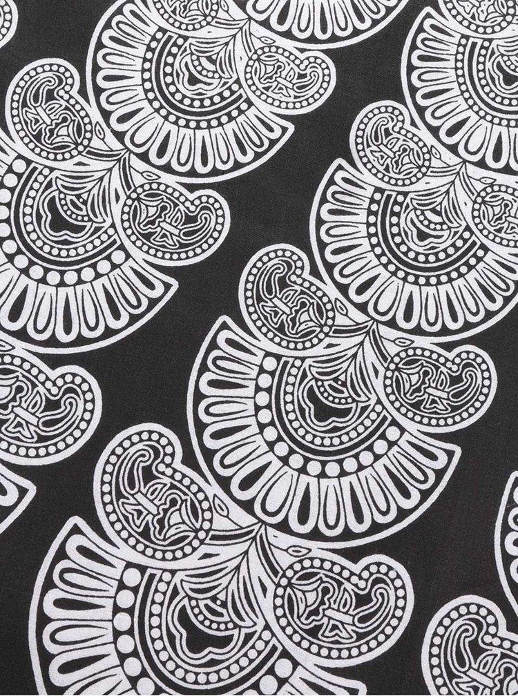 Bílo-černý vzorovaný kulatý šátek Pieces Landua