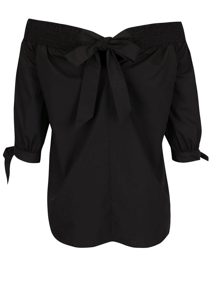 Černý top s odhalenými rameny a mašlí Miss Selfridge