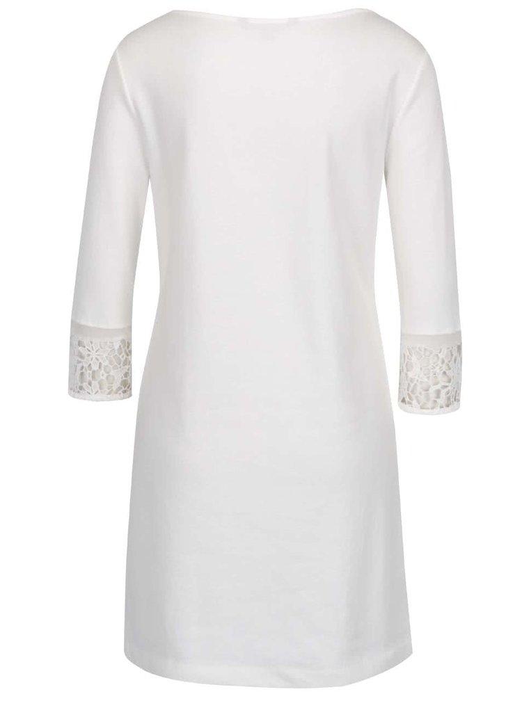 Krémové šaty s krajkou a 3/4 rukávy French Connection Noland