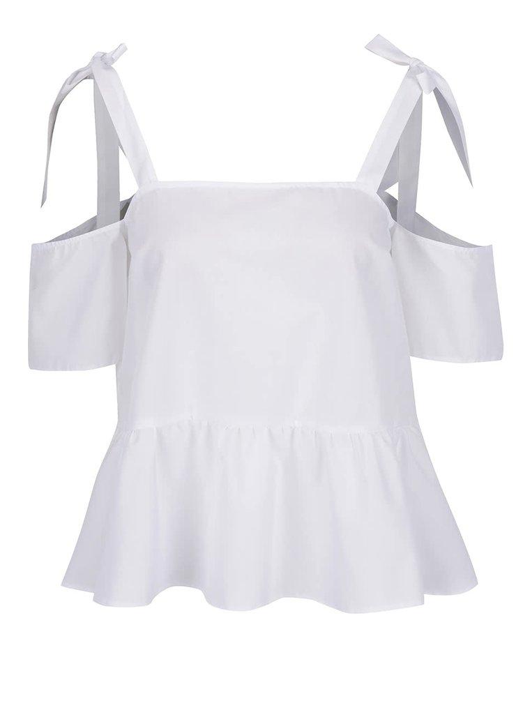 Bílý top s odhalenými rameny s vázáním Miss Selfridge