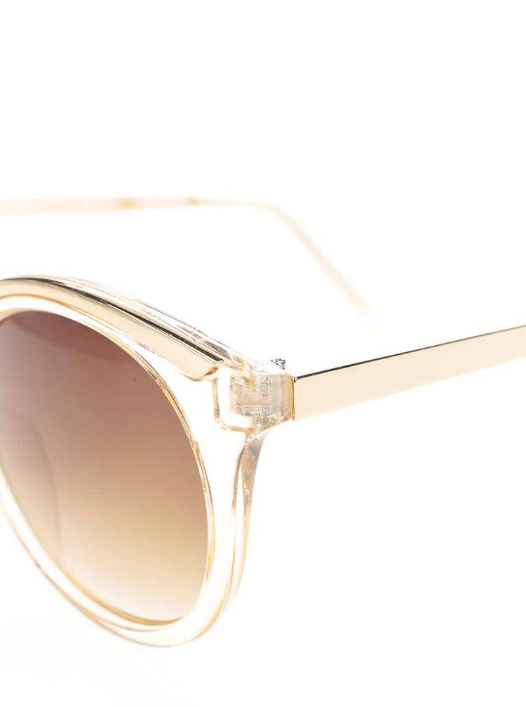 Žluté sluneční brýle s detaily ve zlaté barvě Pieces Lena