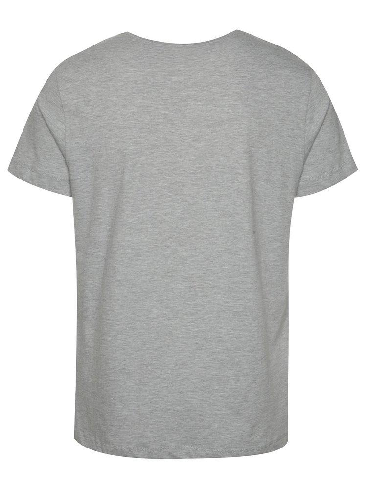Šedé triko s červeným potiskem Blend