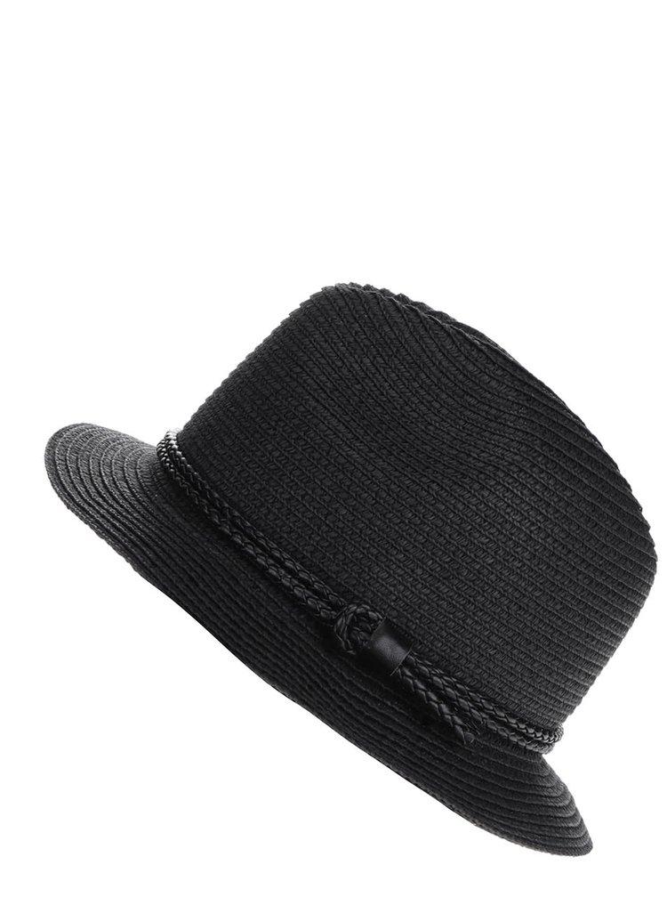Černý klobouk s ozdobným páskem Pieces Lea