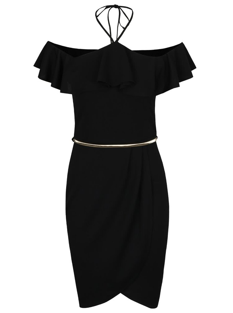 Černé šaty s volánem a páskem ve zlaté barvě Miss Selfridge