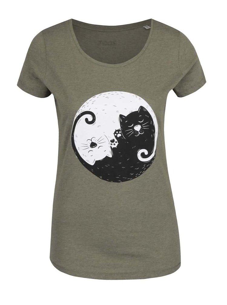 Khaki dámské triko ZOOT Originál Jinjang cats