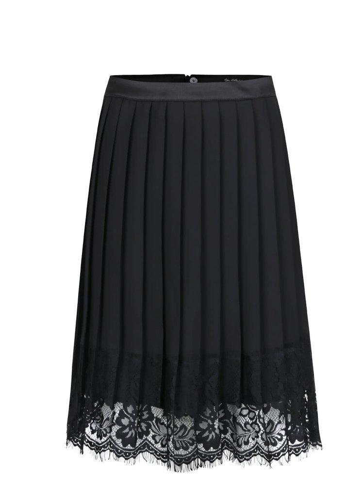 Černá plisovaná sukně s krajkovými detaily Miss Selfridge