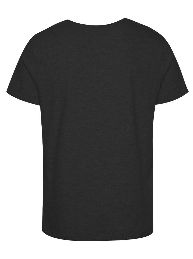 Tmavě šedé triko s modrým potiskem Blend