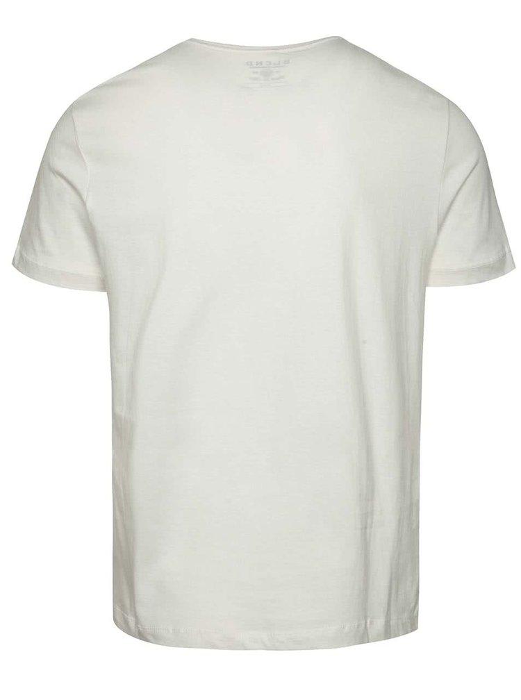 Krémové triko s modrým potiskem Blend