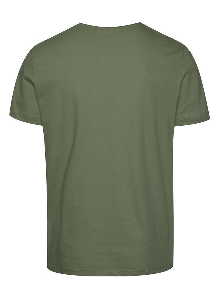 Zelené tričko s modrou potlačou Blend