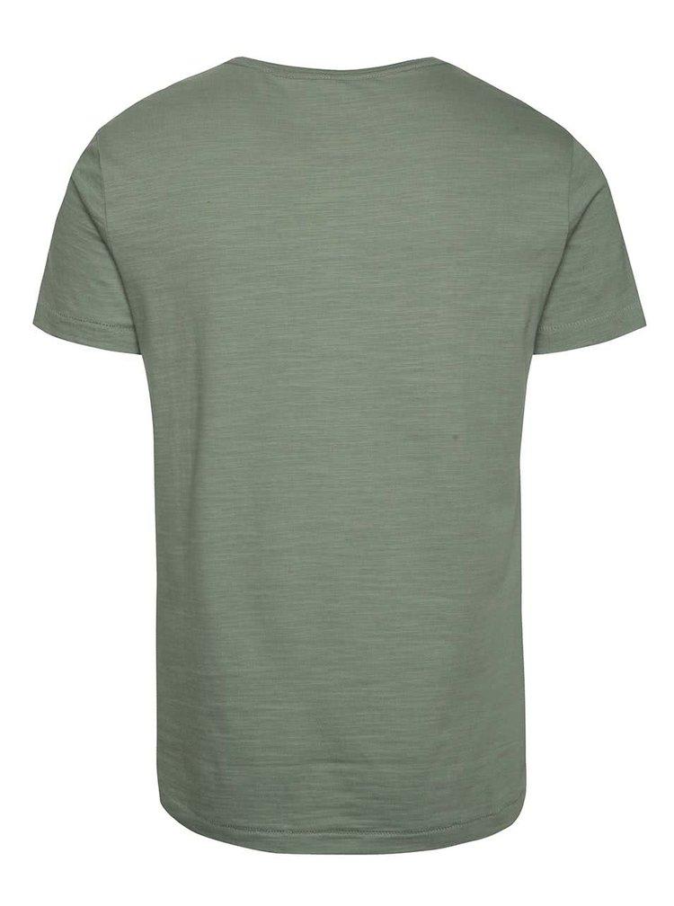 Tricou verde camuflaj Blend cu logo print