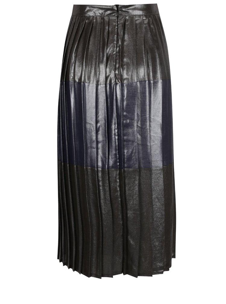 Modro-šedá plisovaná midi sukně Miss Selfridge