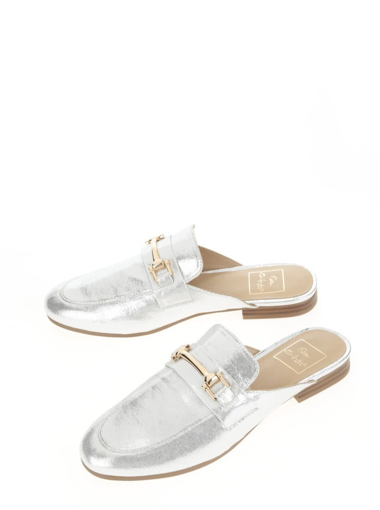 Pantofi slip on Miss Selfridge argintii
