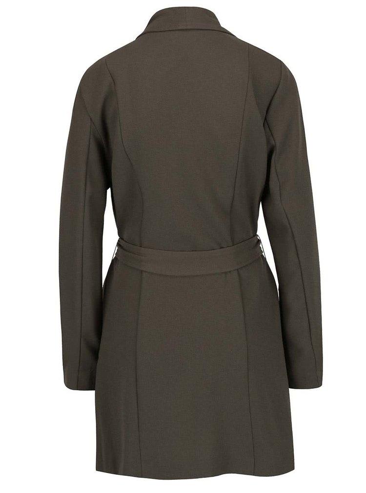 Tmavě zelený lehký kabát se zavazováním v pase ONLY Runa
