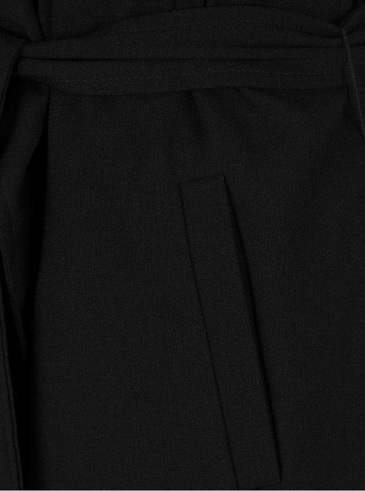 Palton subțire negru ONLY Runa cu cordon în talie