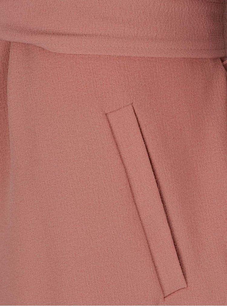 Růžový lehký kabát se zavazováním v pase ONLY Runa