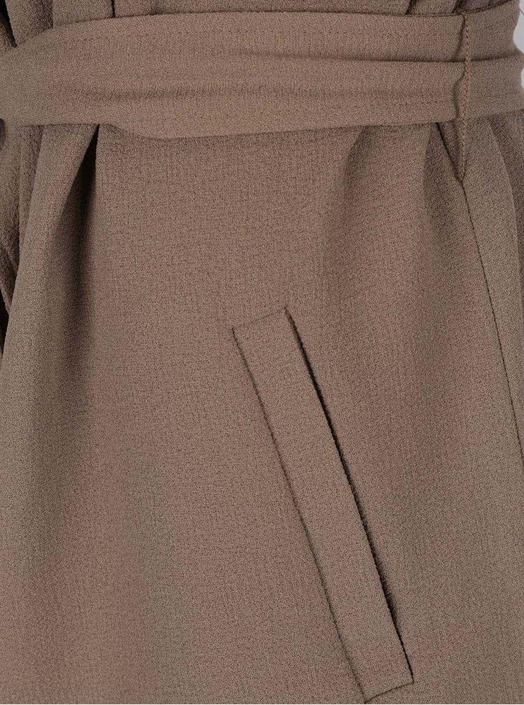 Hnědý lehký kabát se zavazováním v pase ONLY Runa