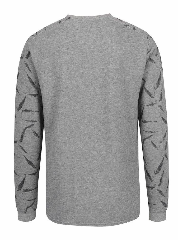 Bluză gri melanj ONLY & SONS Garrik cu model pe mâneci