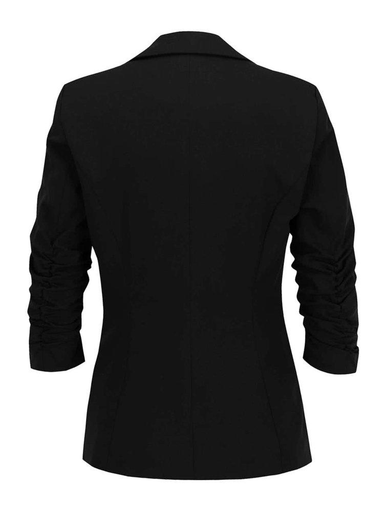 Černé sako se zřasenými rukávy VERO MODA Wrinkly
