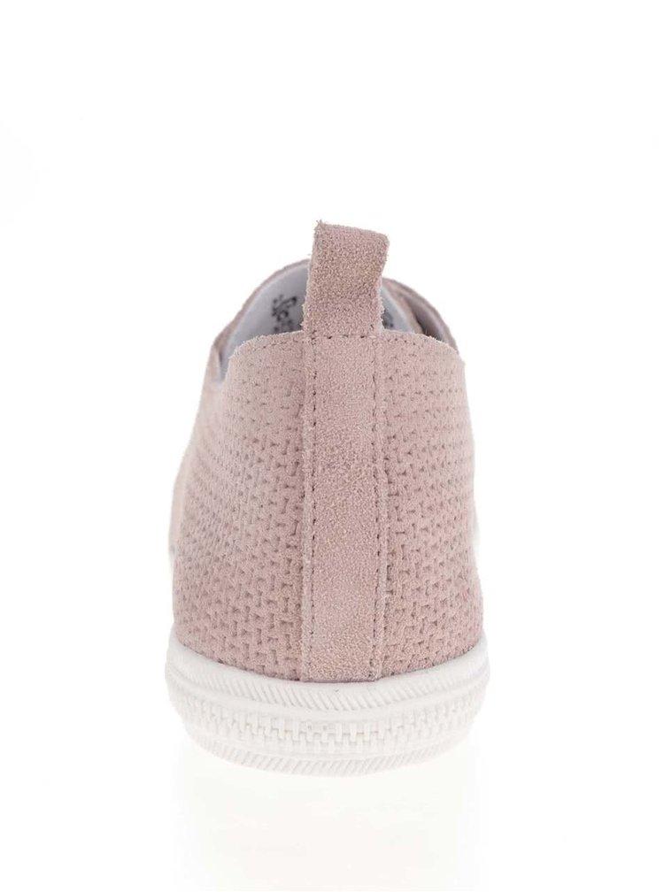 Pantofi roz deschis din piele intoarsa bugatti Kaya Evo cu model perforat