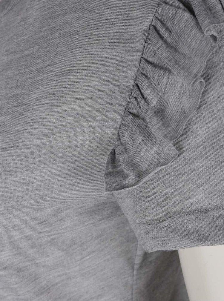 Tricou gri ONLY Bibbi cu volanase decorative