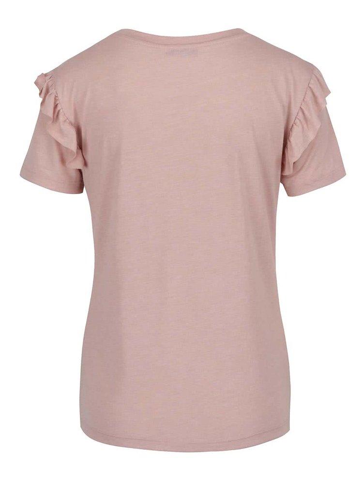 Starorůžové tričko s volány na ramenou ONLY Bibbi