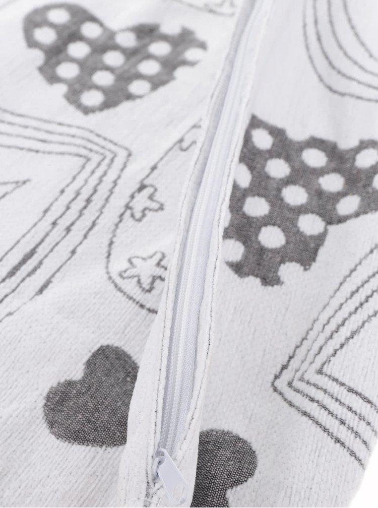 Krémový návlek na polštářek s motivem srdcí Dakls