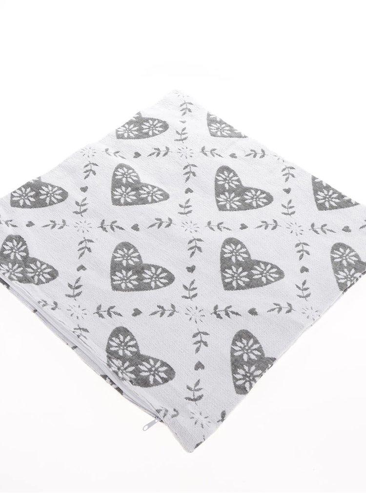 Krémový návlek na polštářek s motivem srdcí a listů Dakls