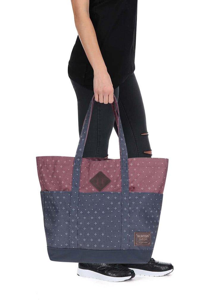 Geantă shopper vișiniu cu albastru Burton Crate