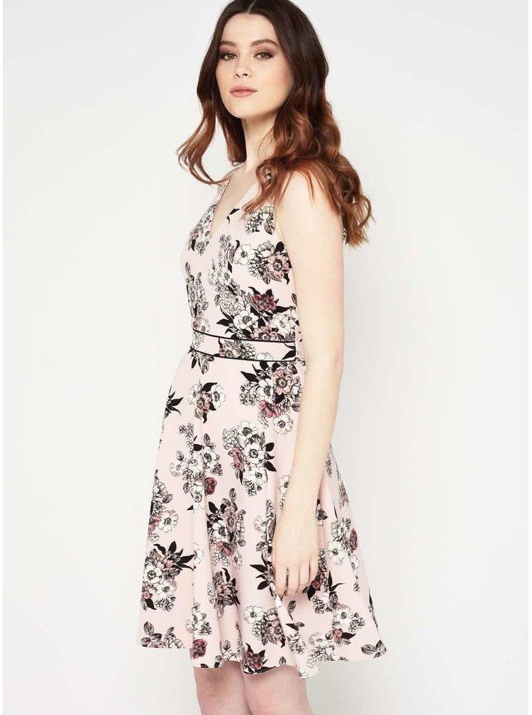 Růžové květované šaty s véčkovým výstřihem Miss Selfridge