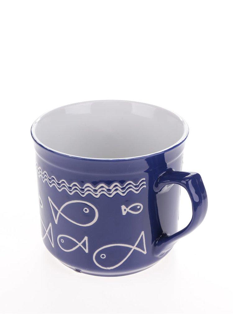 Modrý hrnek s motivem ryb Dakls