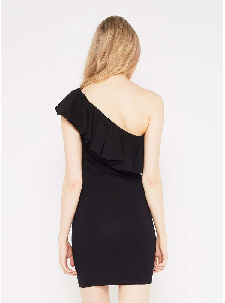 Černé asymetrické šaty s odhaleným ramenem Miss Selfridge