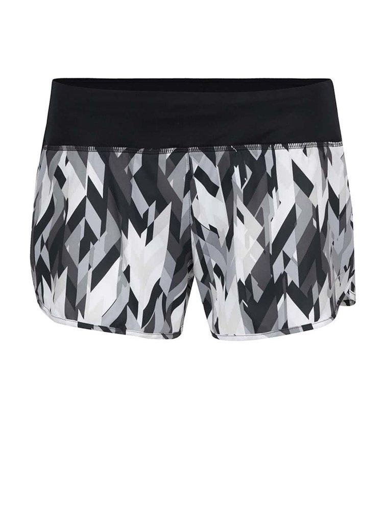Černo-šedé dámské vzorované funkční kraťasy Nike Flex