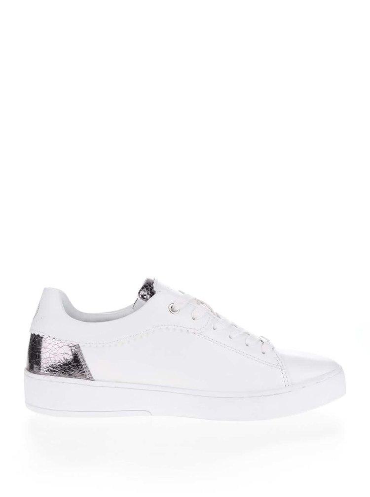Pantofi sport crem  pentru femei  din piele bugatti Fergie cu detalii argintii