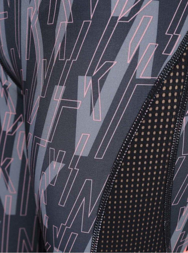 Šedo-černé dámské vzorované funkční legíny Nike Pro Hypercool