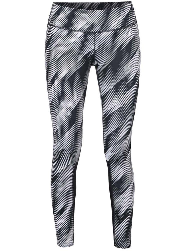 Bílo-černé dámské vzorované funkční legíny Nike Power Epic