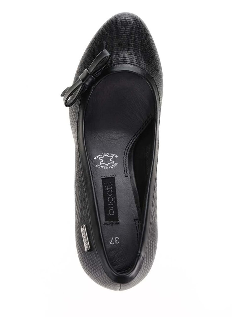 Pantofi cu toc negri bugatti Isabella cu fundă decorativă