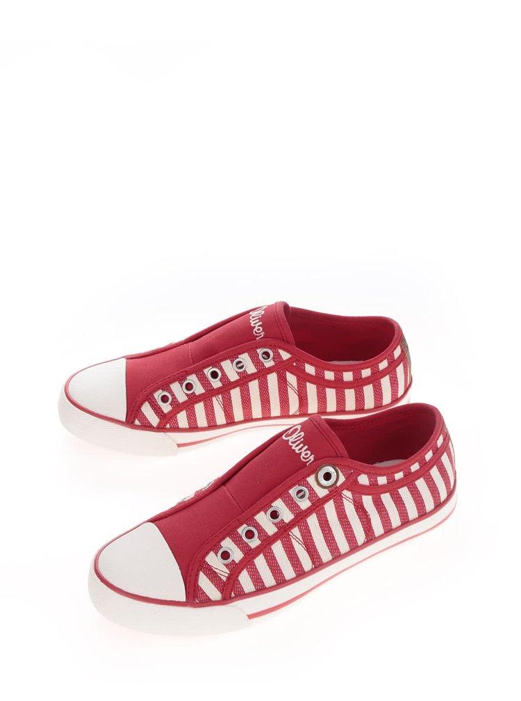 Červené dámské pruhované tenisky s.Oliver