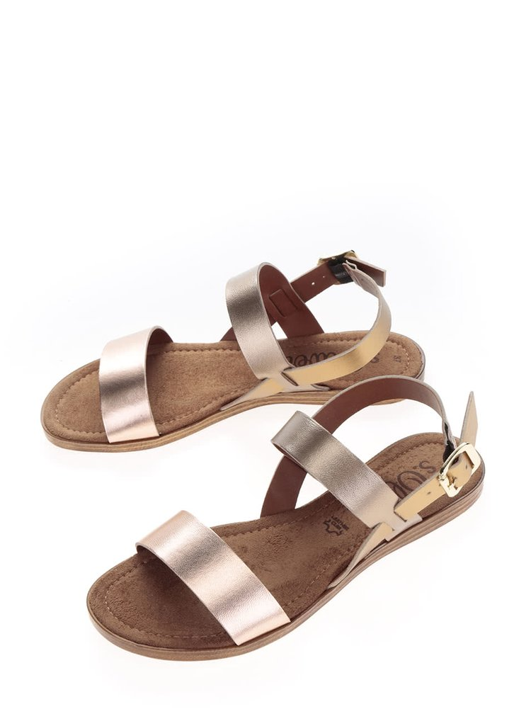 Hnědé dámské kožené sandále s metalickým páskem s.Oliver