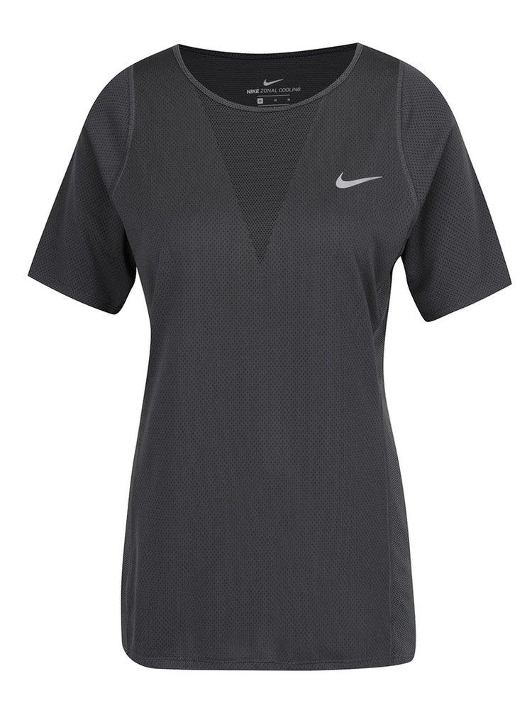 Tricou gri închis de antrenament pentru femei Nike Zonal Cooling Relay